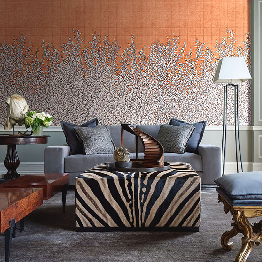 Hedgerow Copper Modern Mural