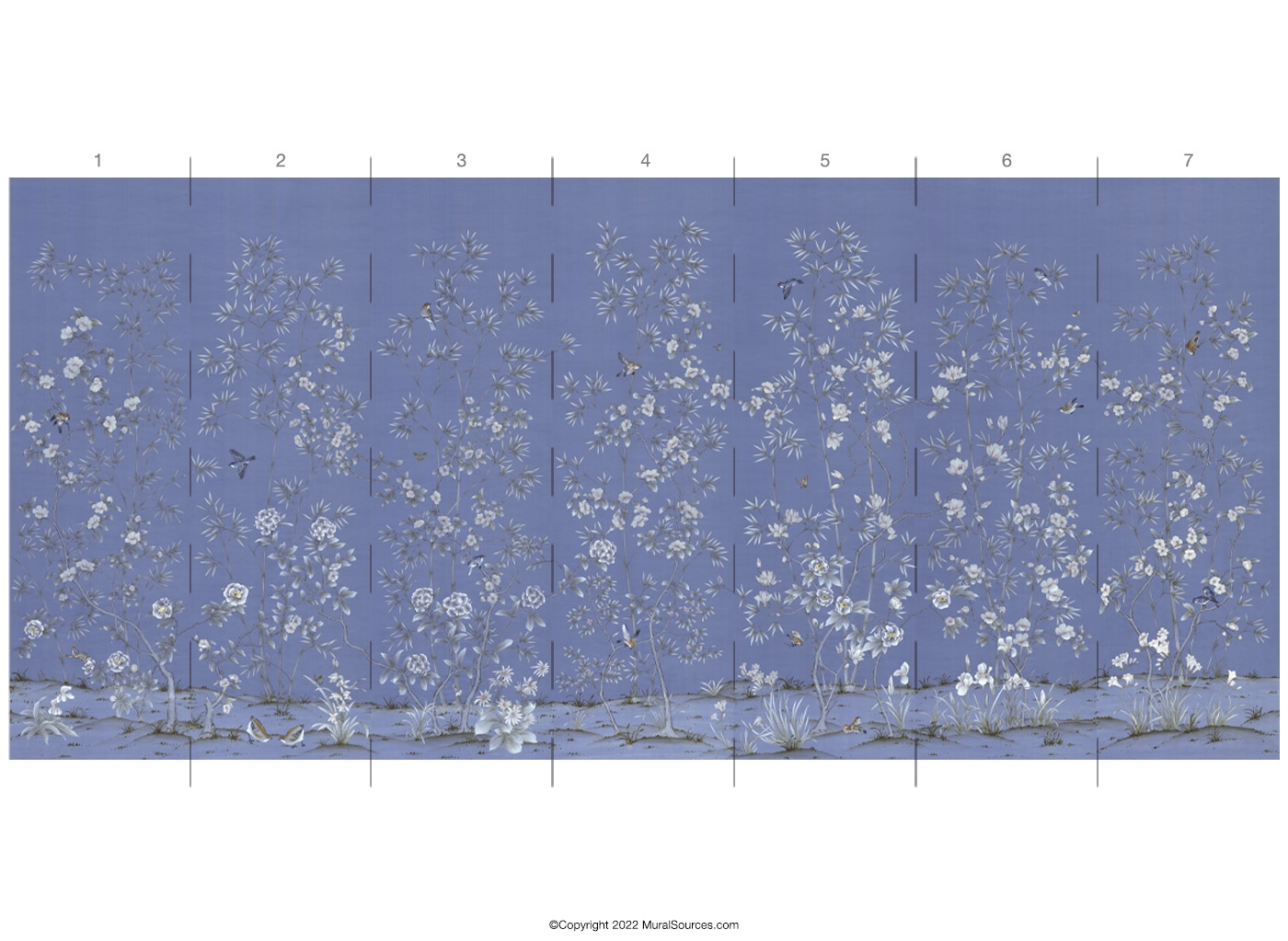 Palace garden blue chinoiserie mural wallpaper for Chinoiserie mural wallpaper