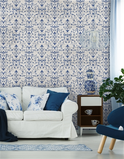 Damask 2 Repeat Pattern Textured Wall Covering
