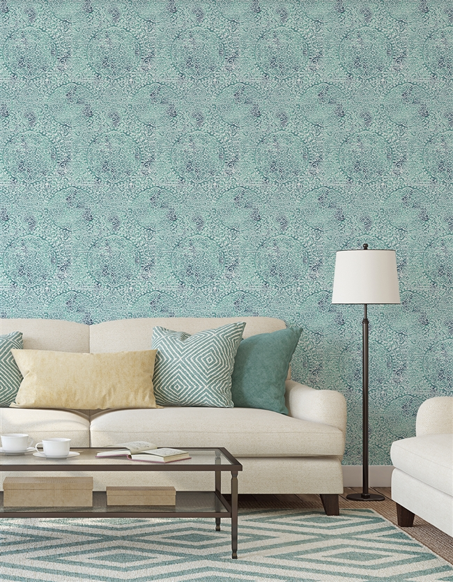 Antique Damask 3 Repeat Pattern Textured Wall Covering