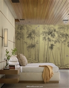 Ink Brush Chinoiserie Metallic Wallpaper