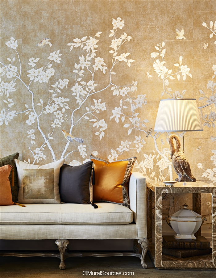 Speckled Metallic Chinoiserie Wallpaper