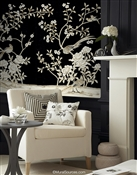 Maysong Black Lacquer Chinoiserie Wallpaper