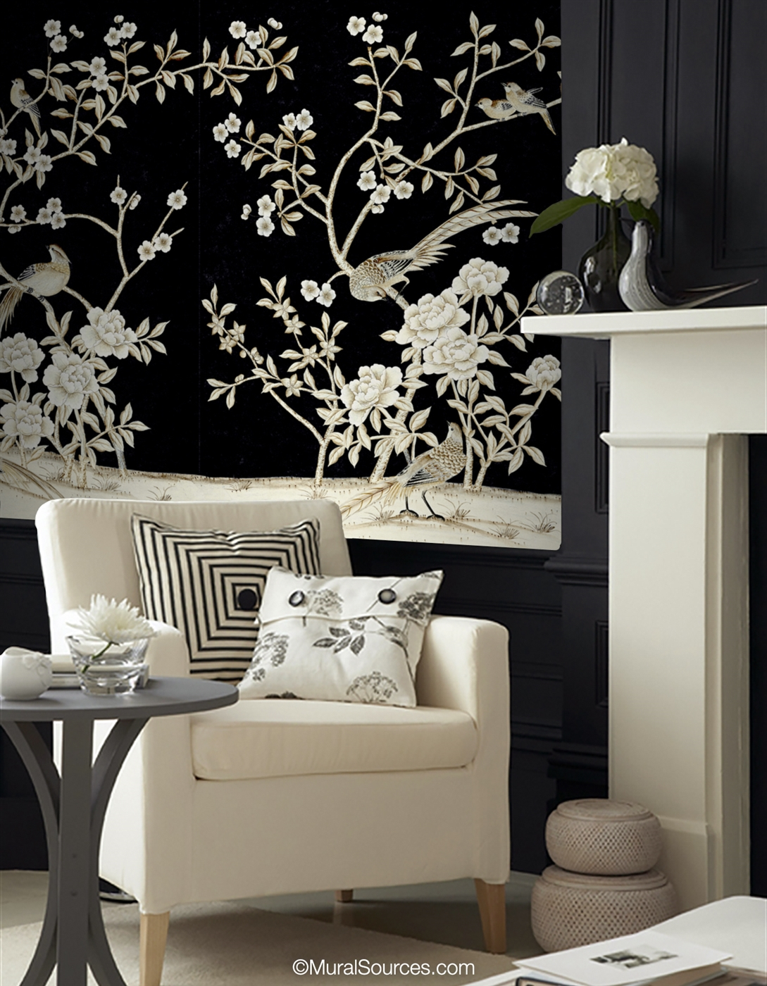 Maysong Black Lacquer Chinoiserie Mural Wallpaper Muralsources Com