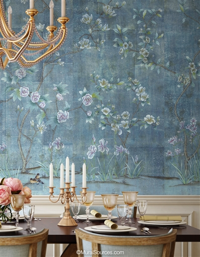 Modern Blue Chinoiserie Wallpaper