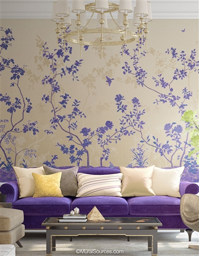 Modern Ultraviolet Chinoiserie Wallpaper