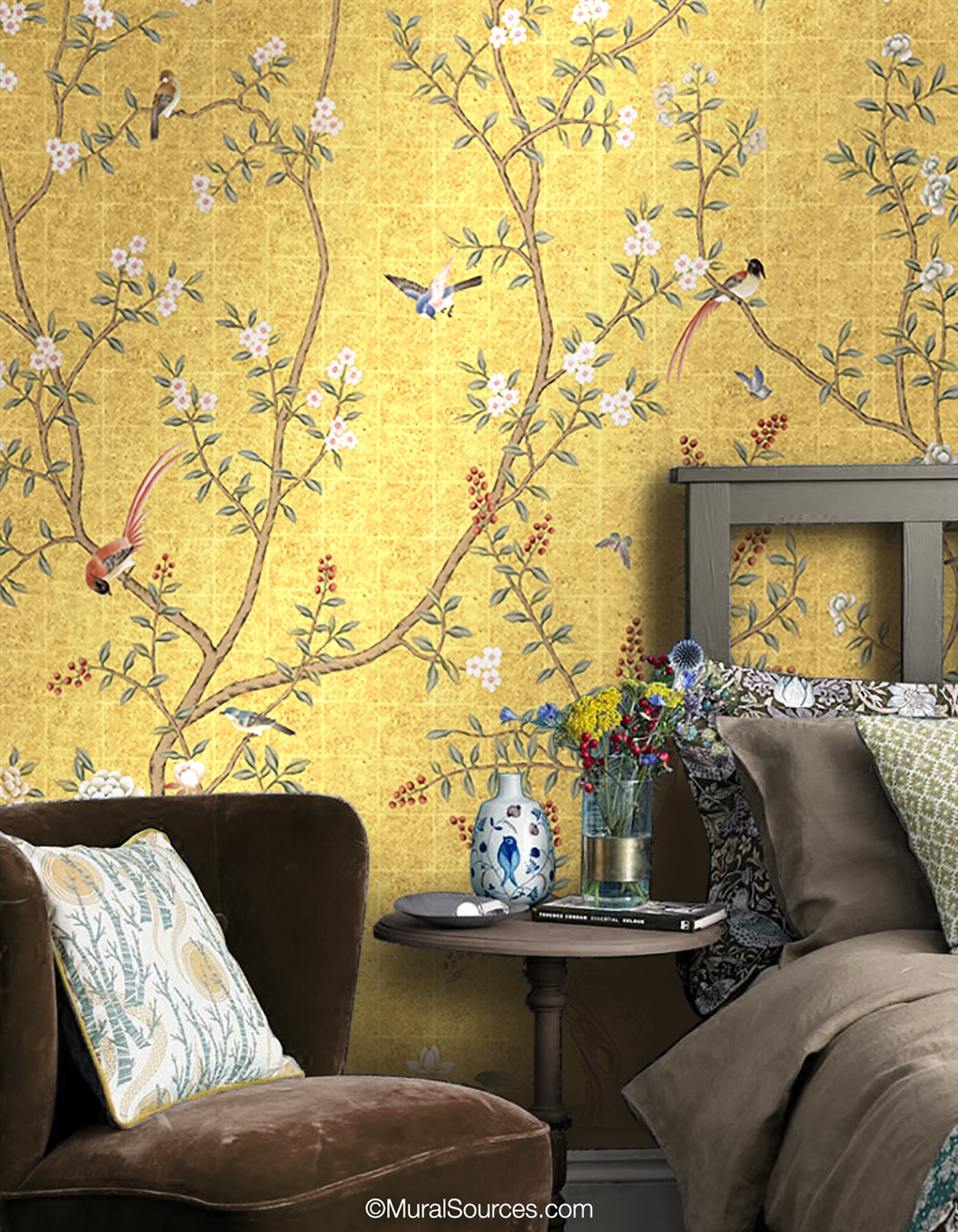 Nanjing Gold Chinoiserie Mural Wallpaper Muralsources Com