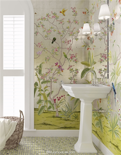 Traditional Silver Chinoiserie Wallpaper