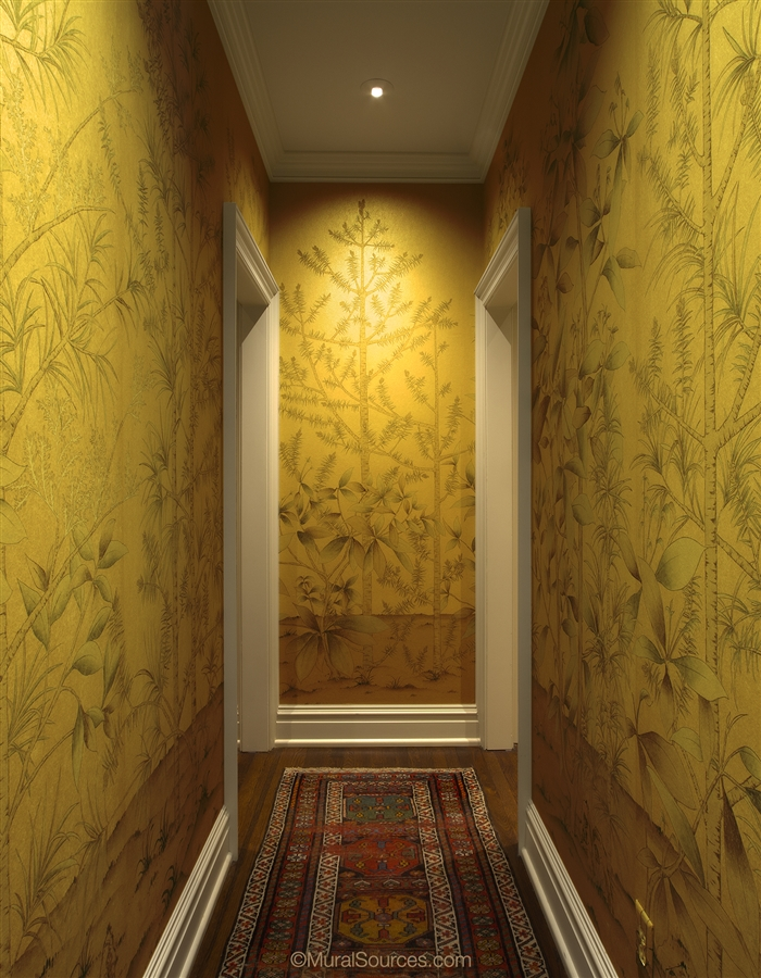 Gold Metallic Chinoiserie Wallpaper
