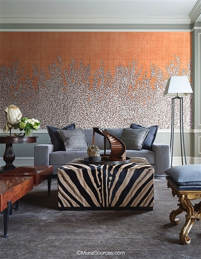 Hedgerow Copper Wallpaper