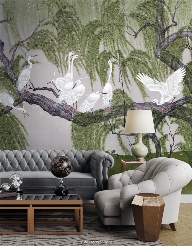 Herons & Willows Modern Mural