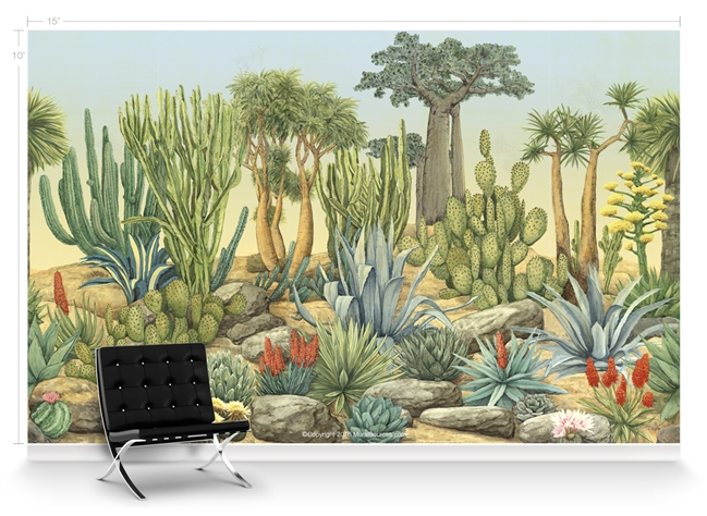 Desert garden chinoiserie mural wallpaper for Desert mural wallpaper