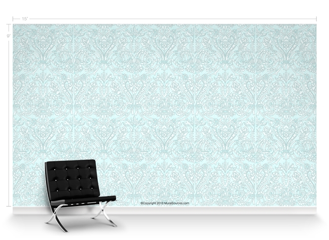 Grand Damask Aqua Baby Repeat Pattern Textured Wall Covering