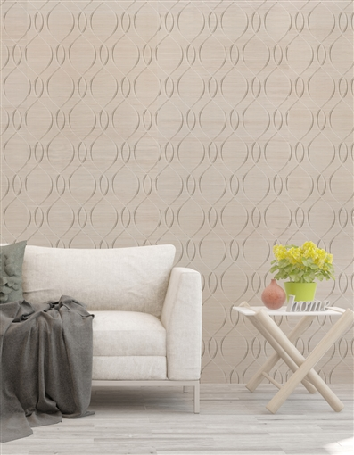 Ogival Repeat Pattern Textured Wall Covering