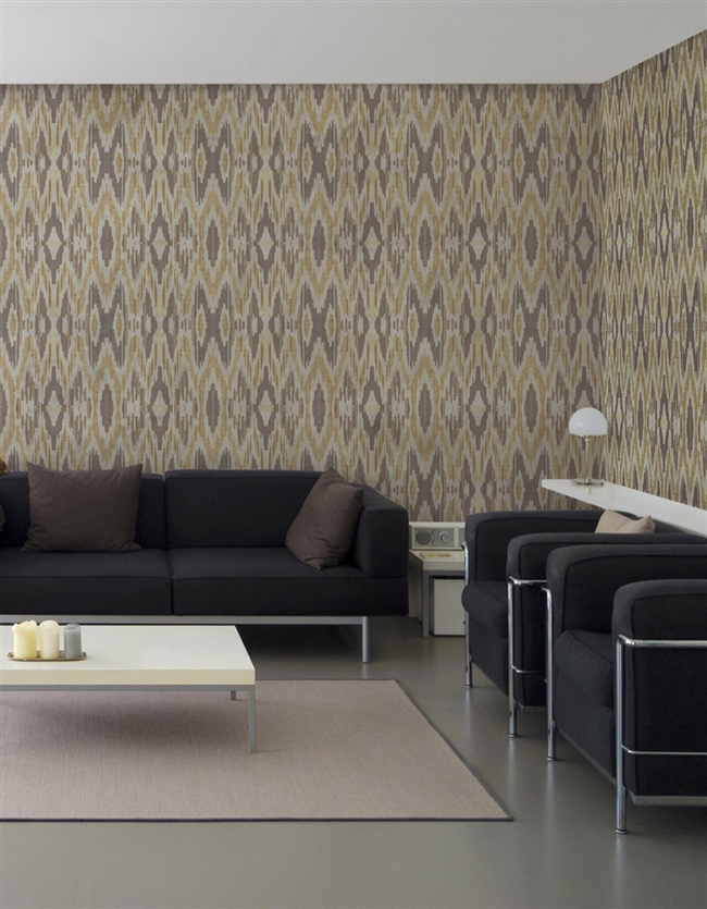 Ikat 3 Repeat Pattern Textured Wall Covering