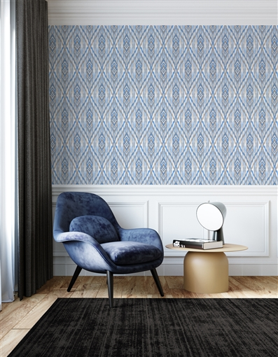 Ikat 4 Repeat Pattern Textured Wall Covering