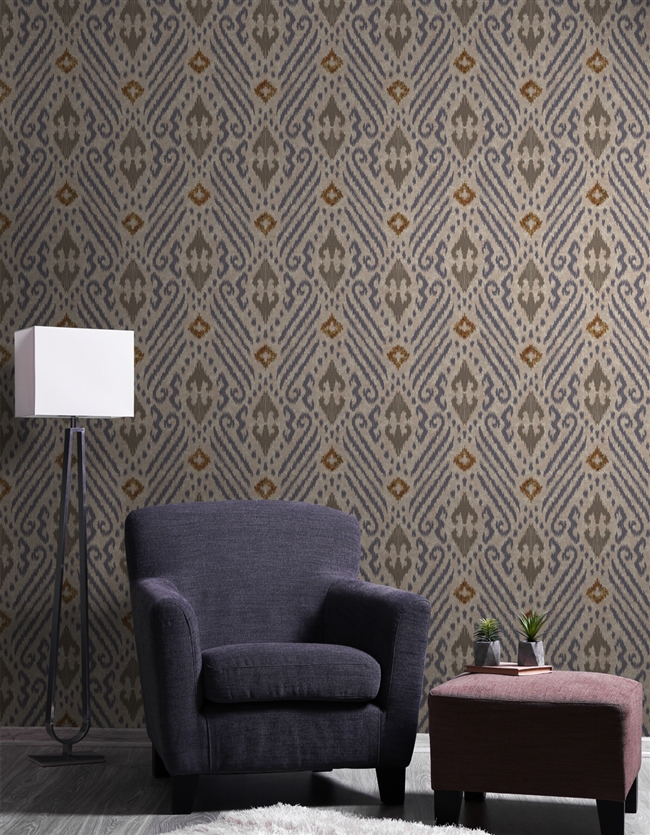 Ikat 6 Repeat Pattern Textured Wall Covering
