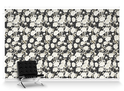 Lavish Peonies Charcoal Repeat Pattern Textured Wall Covering