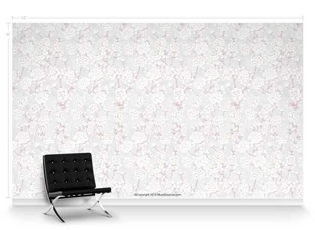 Lavish Peonies Rosa Repeat Pattern Textured Wall Covering