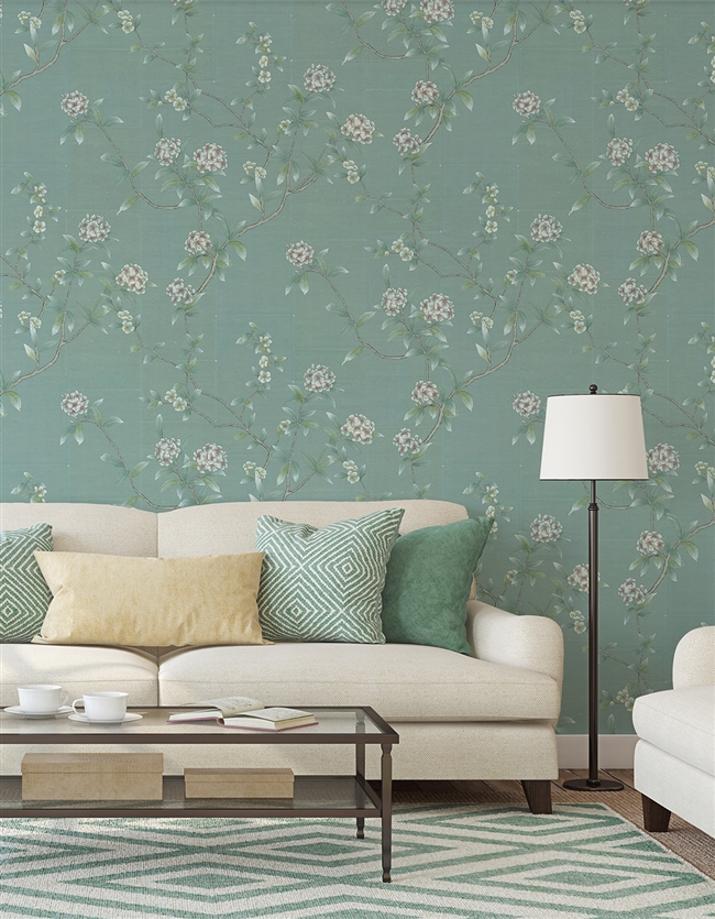 Hydrangeas Blue Repeat Pattern Wall Covering