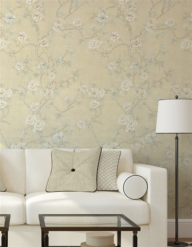 Imperial Camelias Repeat Pattern Wall Covering