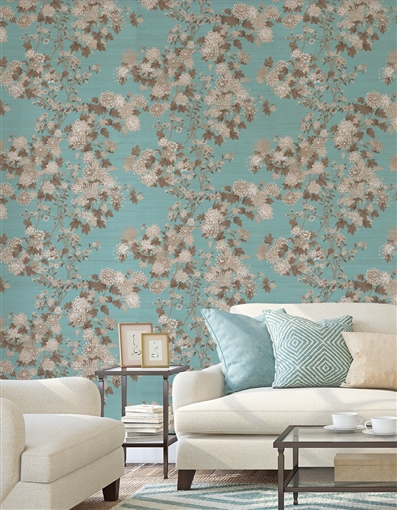 Kiku  Repeat Pattern Textured Wall Covering