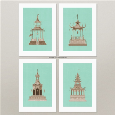 Aqua Pagodas prints for framing