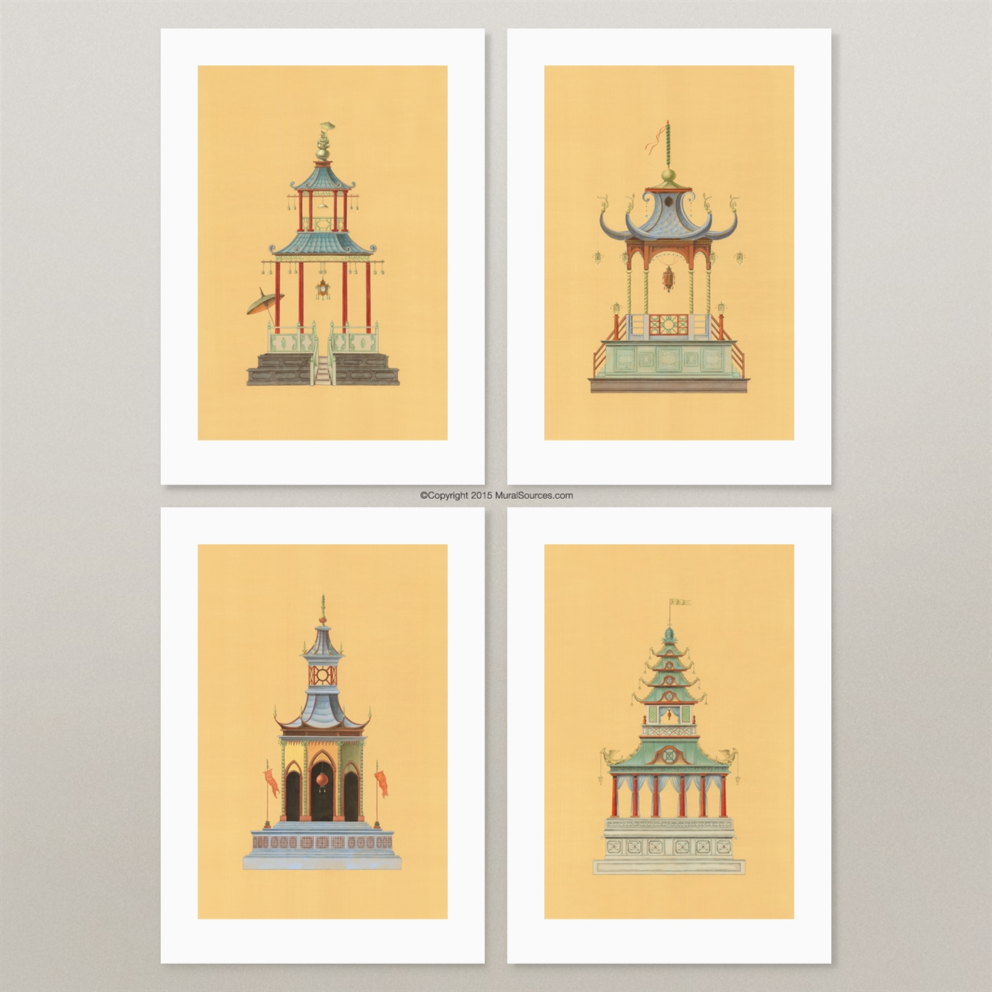 golden pagodas prints for framing